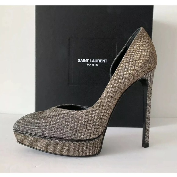 c8866eab334 SAINT LAURENT JANIS VIPER NIGHT PLATFORM PUMPS 40 NWT